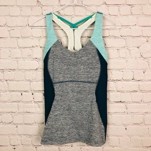 Teal and Gray Lucy Workout Tank